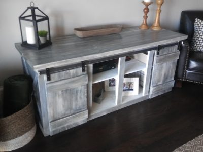 Rustic Weathered Gray media table with sliding barn doors