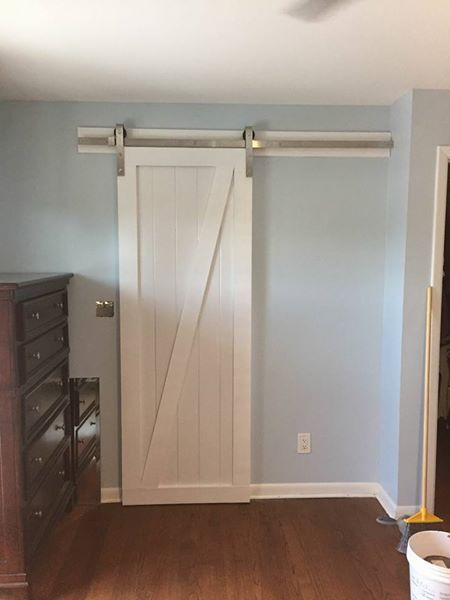 Z brace White Barn door and stainless steel track