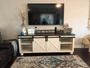 Media table with sliding barn doors