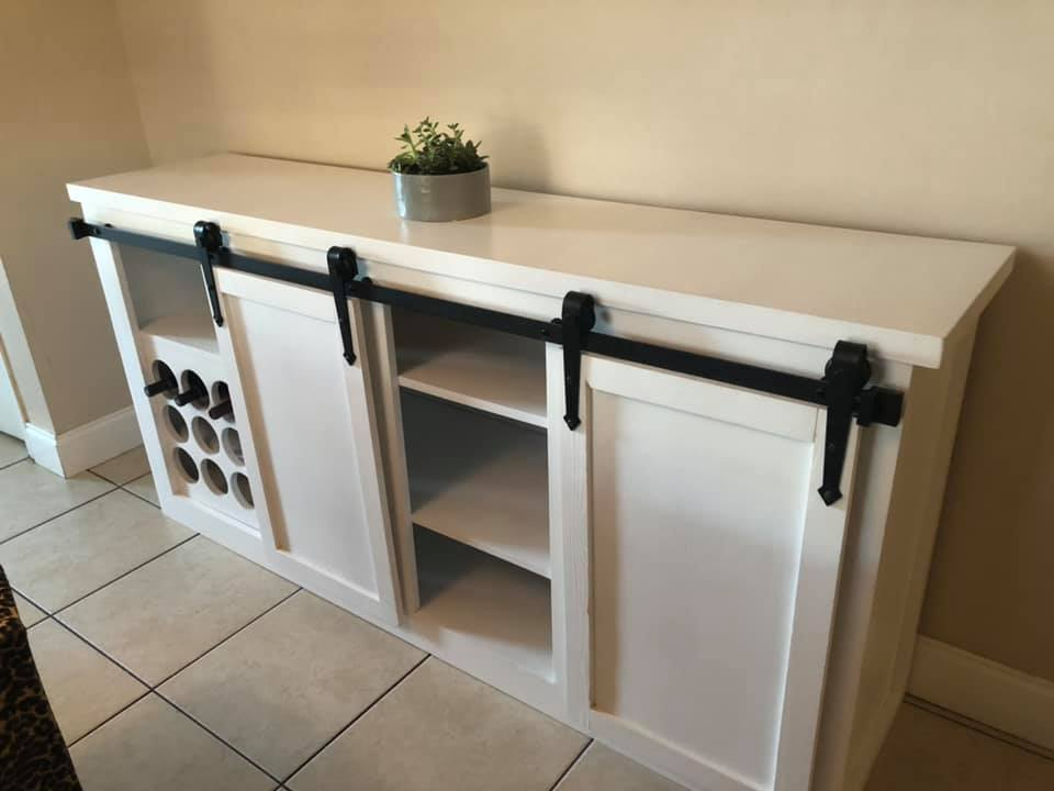 Modern farmhouse Buffet table wine rack with sliding barn doors