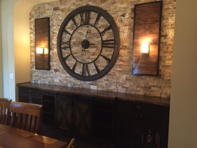 Rustic Dry bar cabinet wine storage stone wall