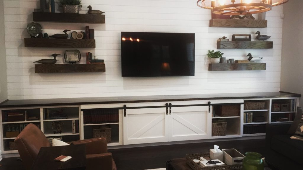 custom build cabinet entertainment center shiplap floating shelves