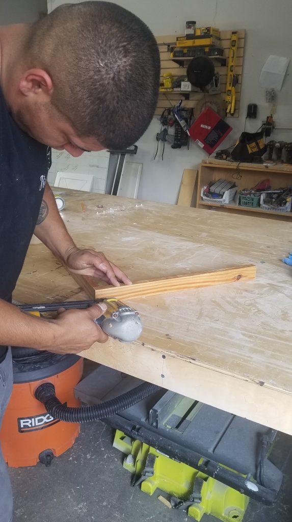 attaching frame with bran nailer dewalt