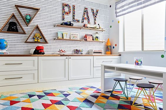 Built-in cabinets for kids playroom