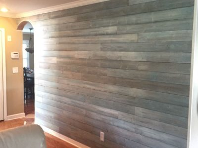 blue wood wall