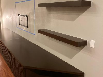 built-in cabinets angled